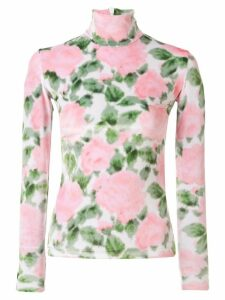 Richard Quinn rose print velour blouse - PINK