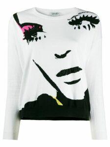 LIU JO face print jumper - White