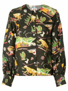 Shrimps Mack printed blouse - Black