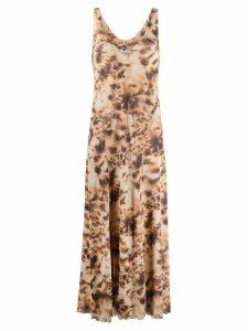 Nanushka tie-dye print V-neck maxi dress - NEUTRALS
