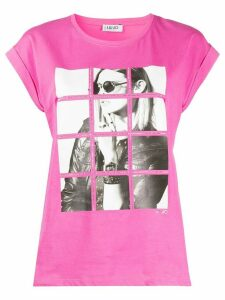 LIU JO up-turned sleeve T-shirt - PINK