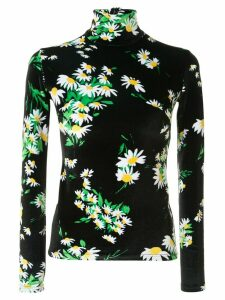 Richard Quinn daisy print velour blouse - Black