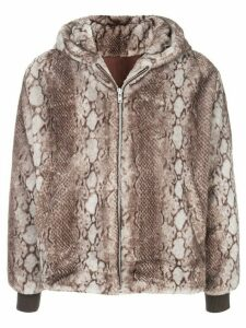 FUNG LAN AND CO. snakeskin print zipped hoodie - Brown