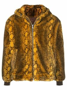 FUNG LAN AND CO. snakeskin print zipped hoodie - Yellow