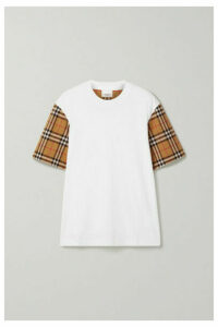 Burberry - Checked Poplin-trimmed Cotton-jersey T-shirt - White