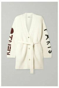 KENZO - Belted Ribbed Intarsia Wool-blend Cardigan - Cream