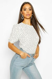 Womens Volume Sleeve Polka Dot Blouse - White - 10, White