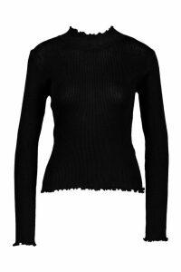 Womens Ruffle Knitted Top - black - L, Black