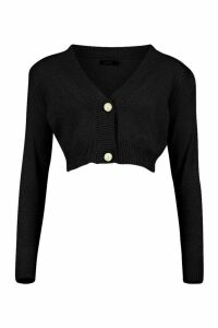 Womens Cropped Knitted Puff Sleeve Cardigan - black - M, Black