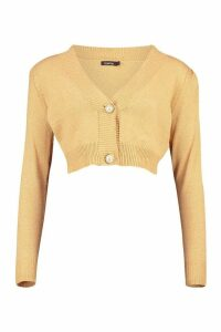 Womens Cropped Knitted Puff Sleeve Cardigan - beige - M, Beige