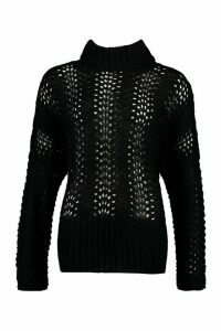 Womens Pointelle Roll Neck Oversized Jumper - Black - M, Black