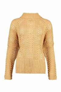 Womens Pointelle Roll Neck Oversized Jumper - beige - M, Beige