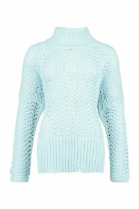 Womens Pointelle Roll Neck Oversized Jumper - Blue - S, Blue