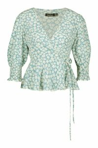 Womens Woven Floral Wrap Front Blouse - Blue - 6, Blue