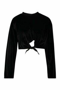 Womens Velour Knot Front Tracksuit Top - Black - 14, Black