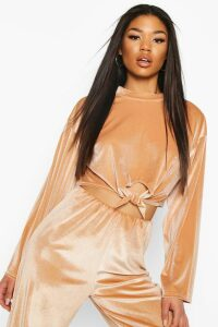 Womens Velour Knot Front Tracksuit Top - Beige - 8, Beige