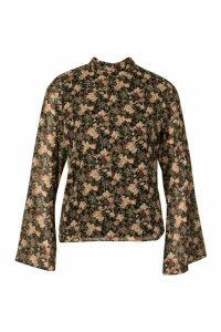 Womens Woven Floral High Neck Blouse - black - 14, Black