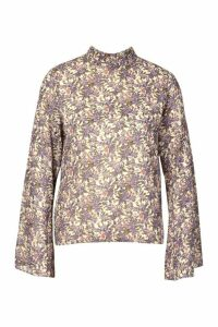 Womens Woven Floral High Neck Blouse - White - 12, White