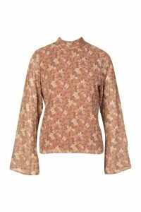 Womens Woven Floral High Neck Blouse - Pink - 16, Pink