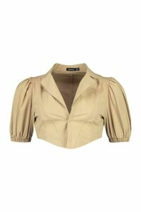 Womens Corset Shape Puff Sleeve Shirt - beige - 14, Beige