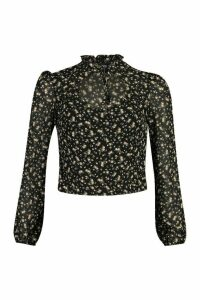 Womens Floral Tie Front Blouse - Black - 12, Black