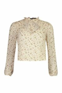 Womens Floral Tie Front Blouse - white - 16, White