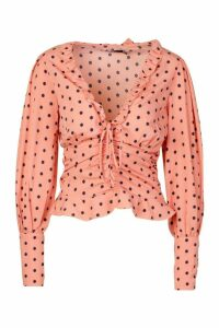 Womens Woven Polka Dot Lace Up And Ruched Detail Top - Pink - 10, Pink