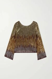 RIXO - Bettina Sequined Chiffon Blouse - Gold