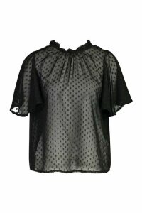 Womens Dobby Mesh Frill Top - black - 10, Black