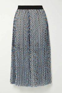 Maje - Pleated Metallic Printed Georgette Midi Skirt - Light blue