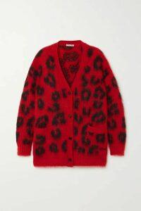 Miu Miu - Leopard-intarsia Mohair-blend Cardigan - Red