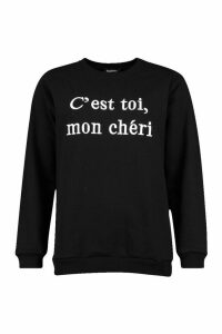 Womens French Slogan Embroidered Sweatshirt - Black - 8, Black