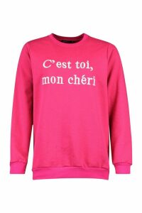 Womens French Slogan Embroidered Sweatshirt - Pink - 12, Pink