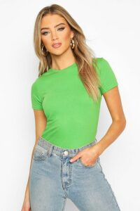 Womens 100% Cotton Crew Neck T-Shirt - green - M, Green