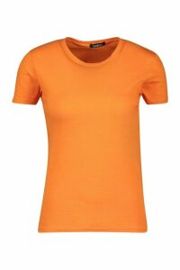 Womens 100% Cotton Crew Neck T-Shirt - orange - M, Orange