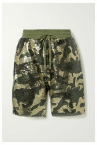 R13 - Sequined Tulle And Cotton-jersey Shorts - Army green