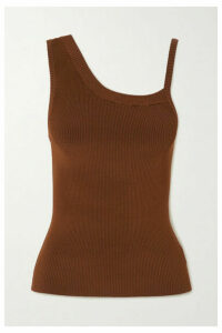 Peter Do - Asymmetric Ribbed-jersey Tank - Brown