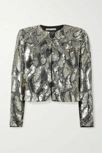 Alice + Olivia - Kidman Cropped Sequined Silk Jacket - Silver