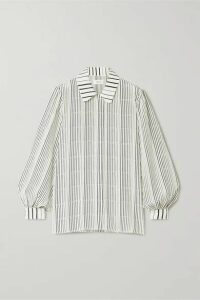 ARIAS - Striped Silk-crepe Shirt - White