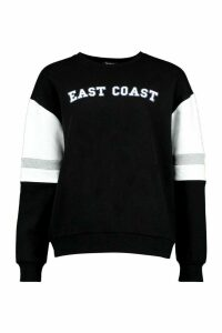 Womens Colour Block City Slogan Oversized Jumper - Black - 12, Black
