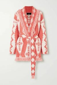 Alanui - Baja Belted Fringed Cashmere-blend Jacquard Cardigan - Red