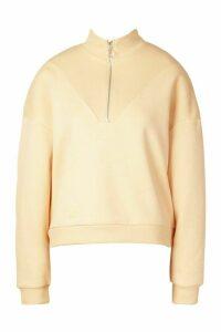 Womens Fleece Zip Through Funnel Neck Sweat - beige - 16, Beige