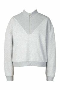 Womens Fleece Zip Through Funnel Neck Sweat - grey - 16, Grey