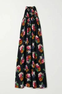 ARIAS - Floral-print Crinkled Stretch Silk-crepe Maxi Dress - Black
