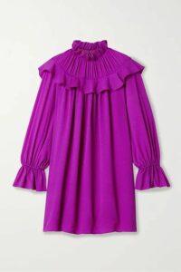 ARIAS - Ruffled Crinkled Stretch Silk-crepe Mini Dress - Magenta
