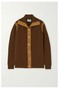 Prada - Two-tone Suede-trimmed Cashmere Cardigan - Tan
