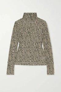 Nanushka - Madi Zebra-print Jersey Turtleneck Top - Zebra print
