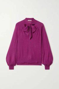 Jonathan Simkhai - Pussy-bow Cashmere Sweater - Magenta