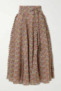 Horror Vacui - James Scalloped Printed Cotton-poplin Midi Skirt - Red