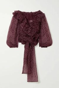 Dolce & Gabbana - Off-the-shoulder Ruffled Polka-dot Silk-organza Blouse - Burgundy